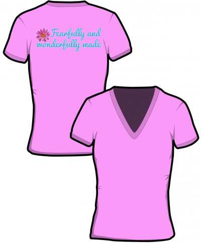 "S223-GD91: ""Fearfully"" Ladies v-neck t-shirt"
