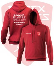UC-NE-HS5: Essex Blades Netball Club Hoodie - RED Logo